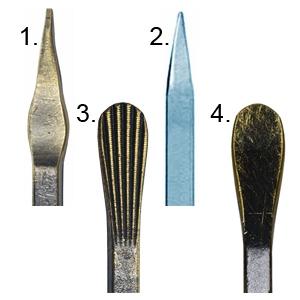 1. Купольная пика; 2. Граненая пика; 3. Гусиная лапка; 4. Гладкая лапка