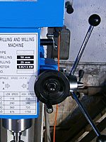 маховик микрометрической подачи пиноли сверлильно-фрезерного станка MetalMaster DMM 50C