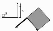 Угол наружный большой доборный элемент для кровли на листогибе Van Mark